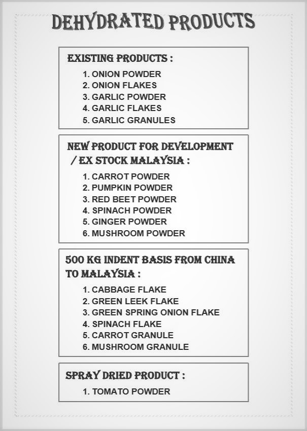 DEHYDRATED PRODUCTS LIST